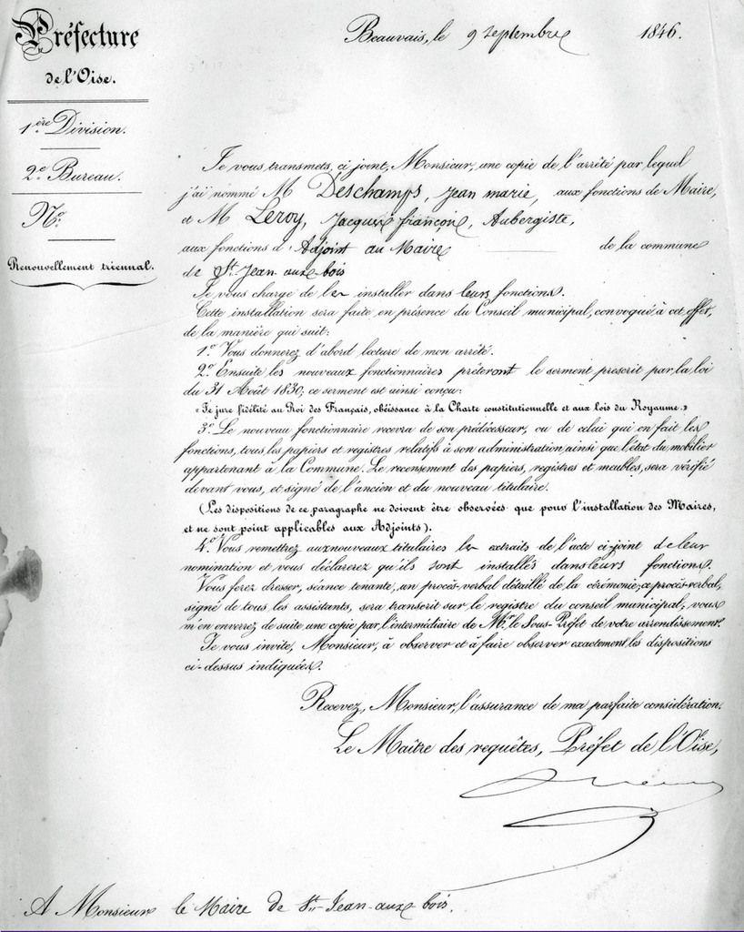 Lettre du préfet Confirmation de Deschamps et Leroy. Archives communales Série K élections.
