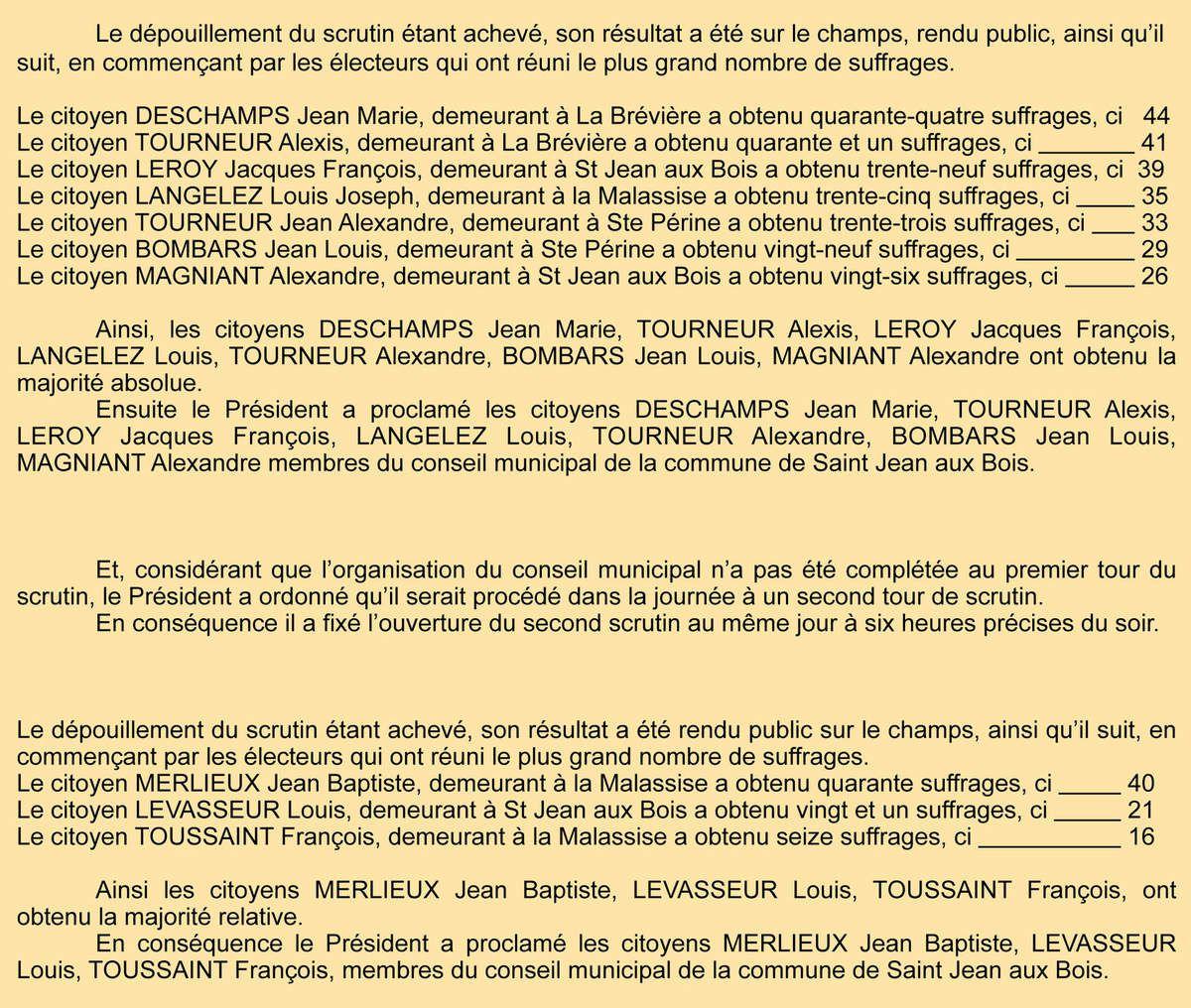 P.V. du scrutin de 1848. Registre des délibérations 1D5.
