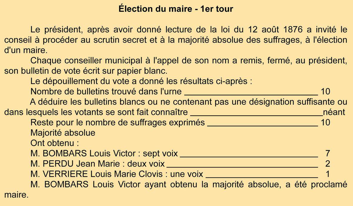 Election du maire. Registre des délibérations 1D6