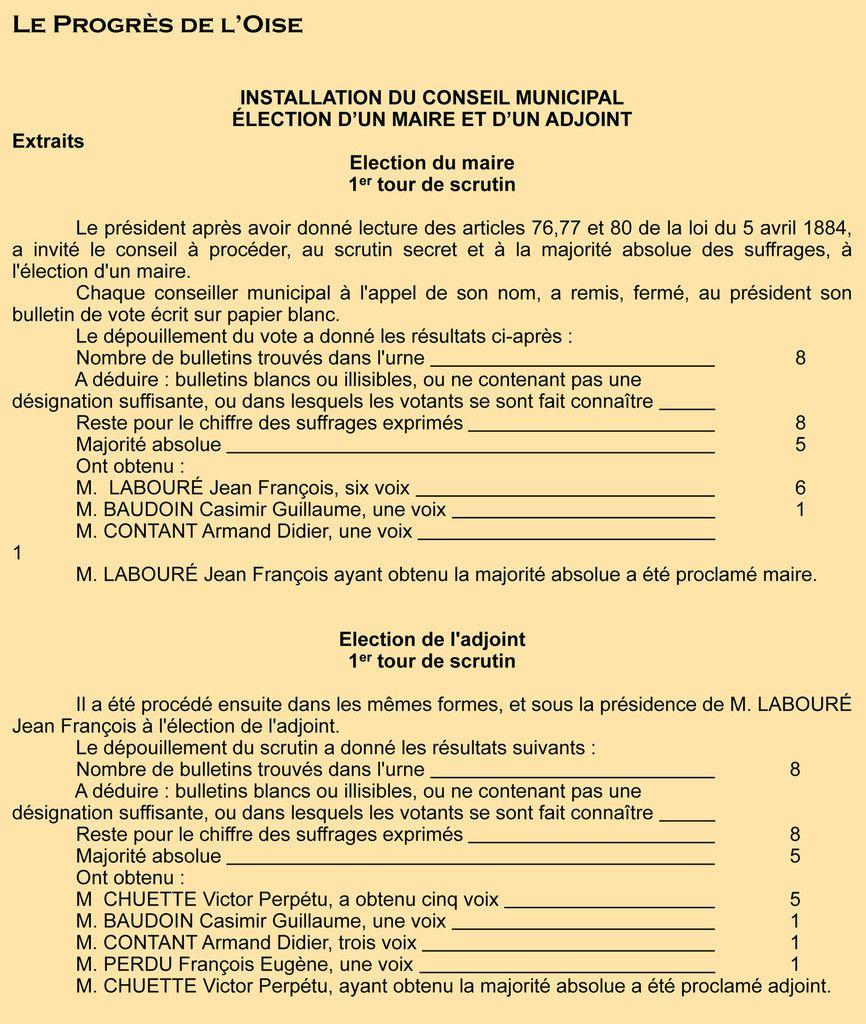 P.V. de l'élection du maire – Registre des délibérations 1 D 7
