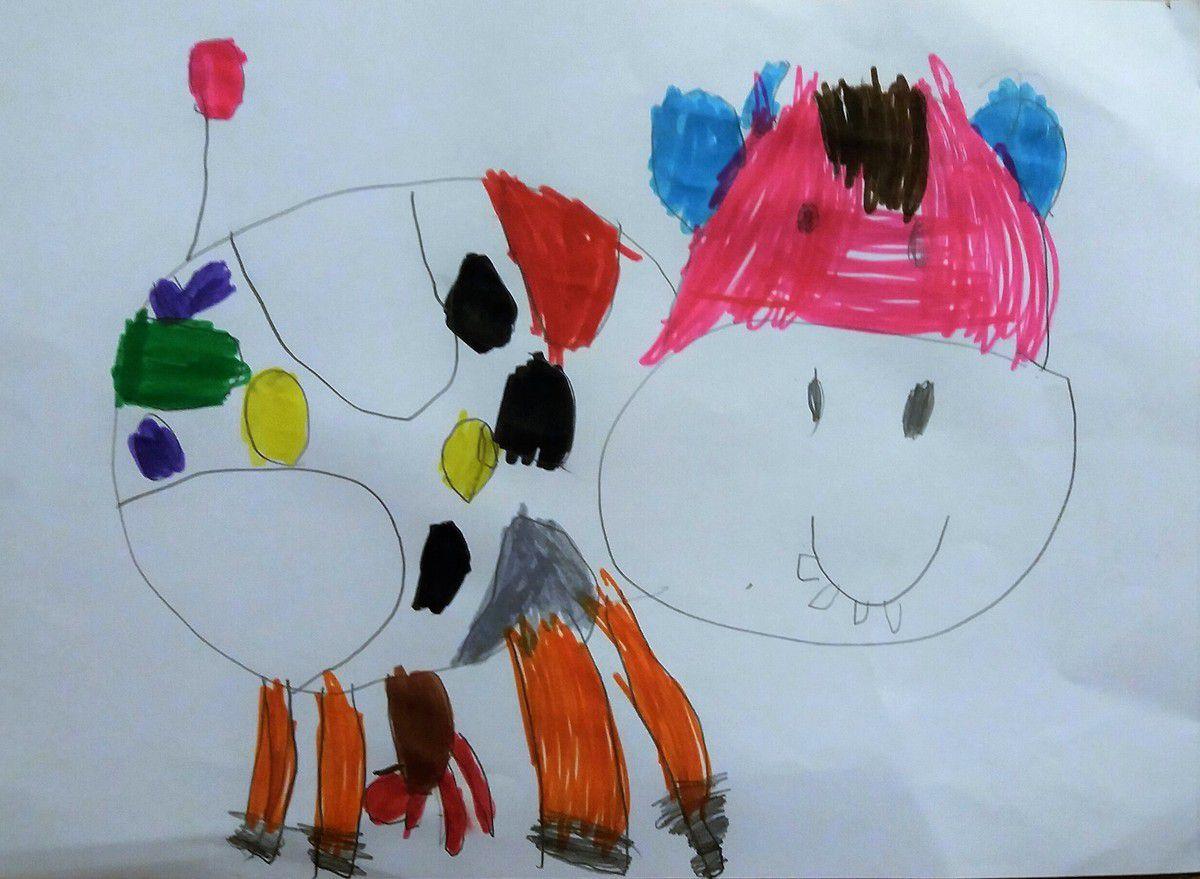 la vache d'Anaëlle (thème du 1er trimestre à l'école): extra !