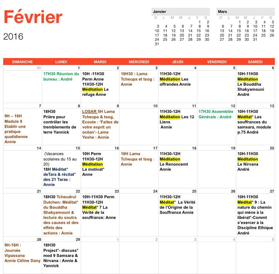 programme de février 2016