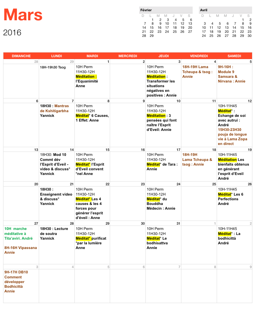 Programme de mars 2016