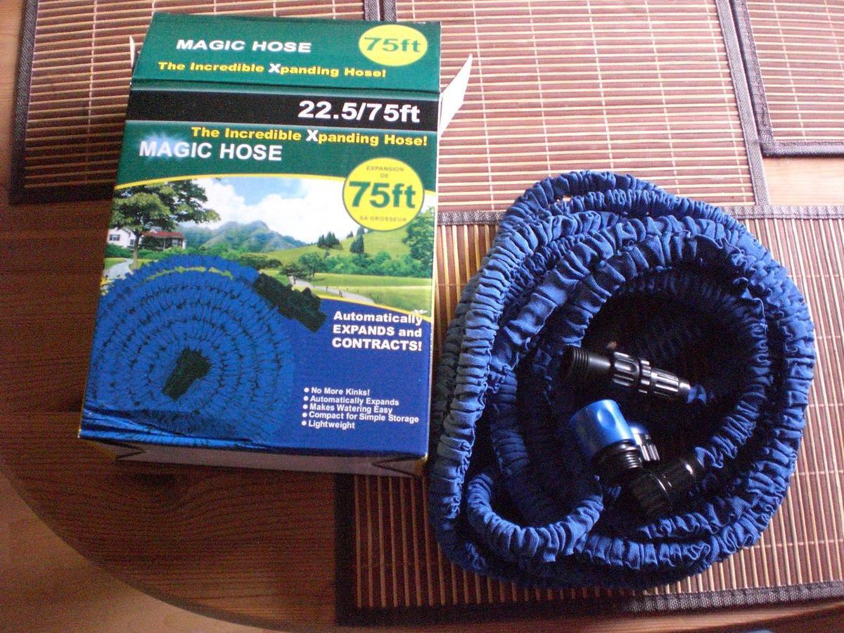 Noza Tec flexibler Gartenschlauch Flexischlauch Wasserschlauch Brause mit 7 Funktionen Länge 22.5m ausgedehnt Blau im Test...