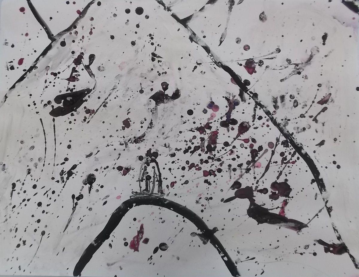 colère, giclures, couleurs sombres sur fond blanc = contraste