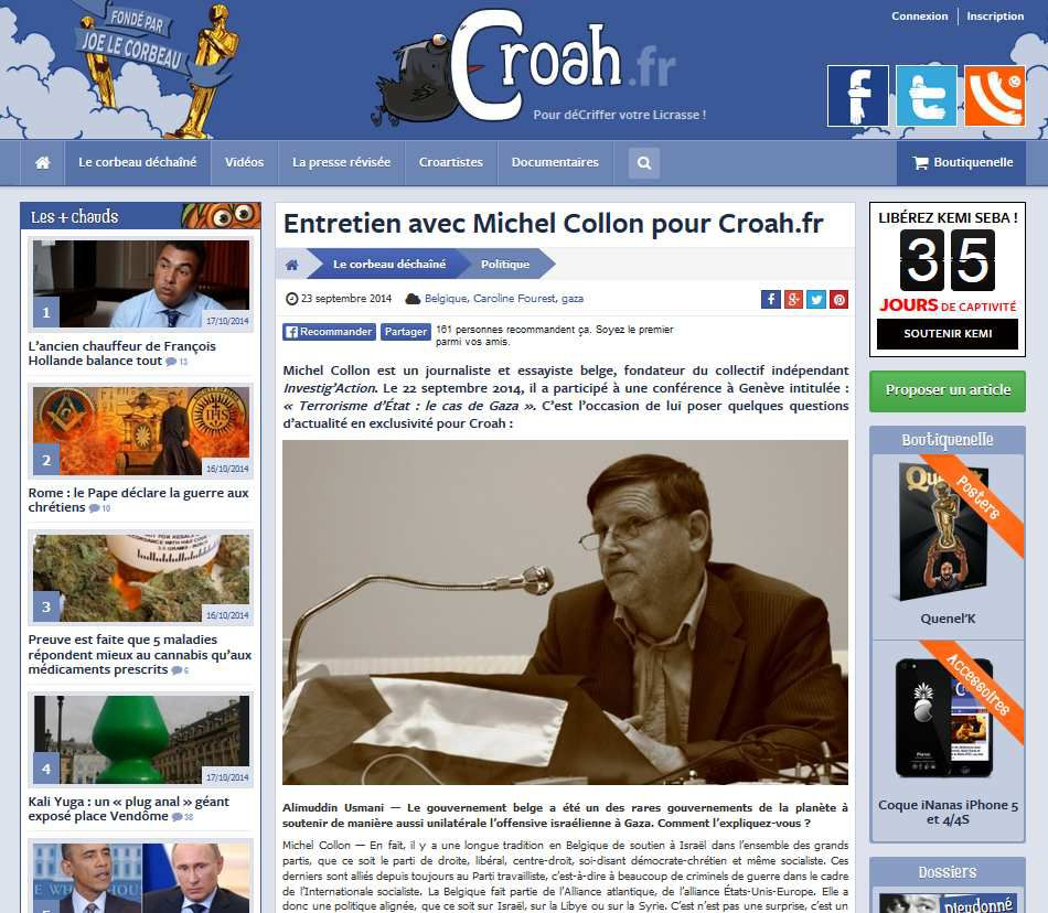 Michel Collon en bonne compagnie sur Croah.fr, entre deux « quenelles » et un appel à soutenir le panafricaniste fasciste Kemi Seba.
