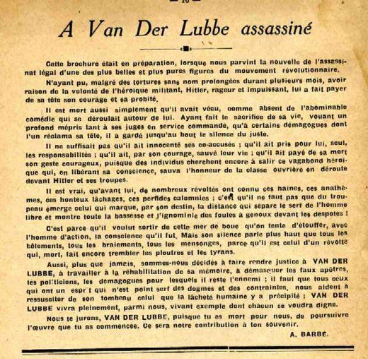 A Van der Lubbe assassiné