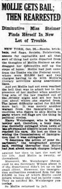 The Washington Times, 26 octobre 1919.