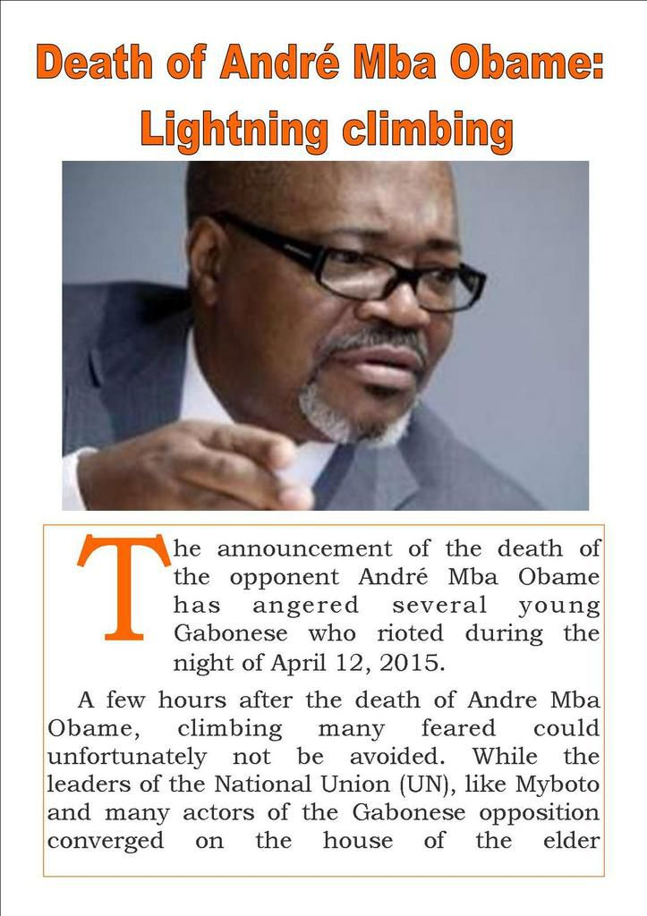 Death of André Mba Obame:  Lightning climbing