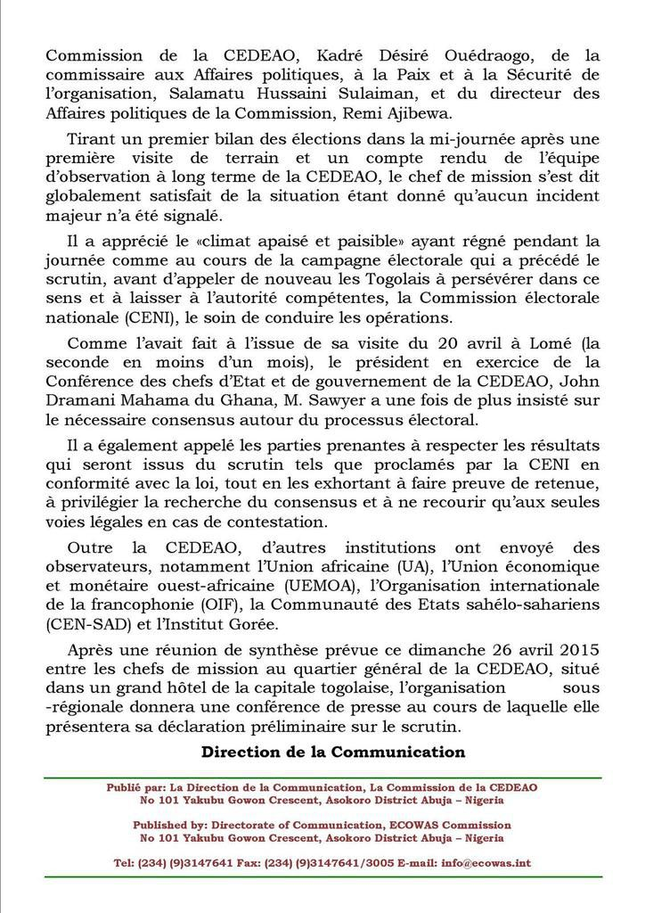 LES TOGOLAIS AUX URNES POUR ELIRE LE PRESIDENT DE LA REPUBLIQUE