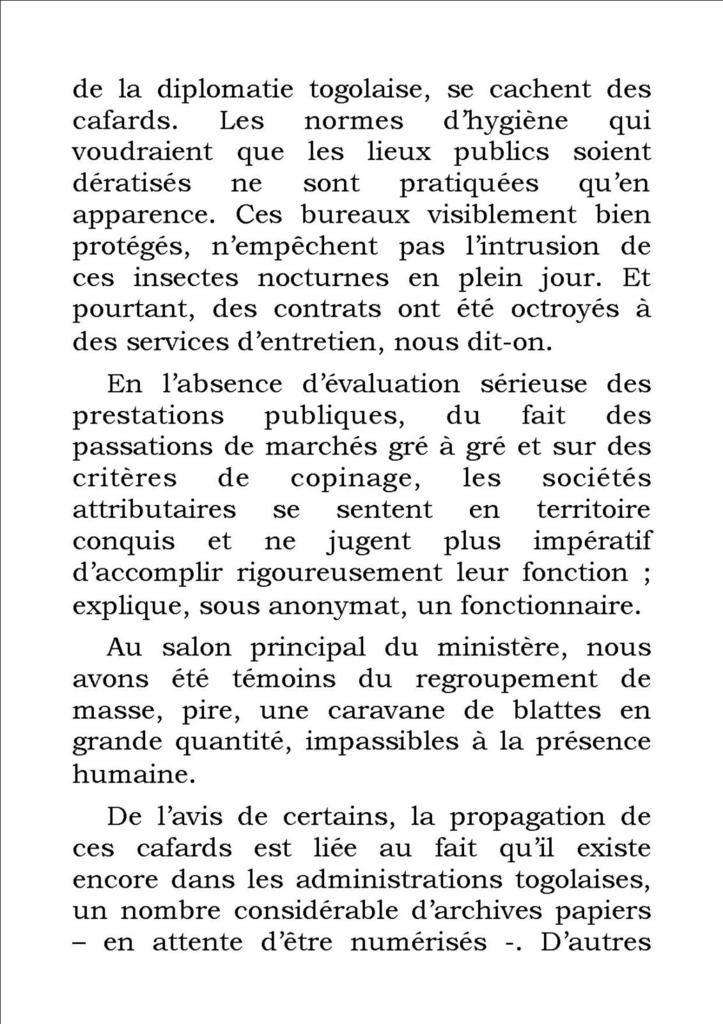 Déchéance de l'Etat et Insalubrité  Des cafards dans les  bureaux de l'administration au Togo