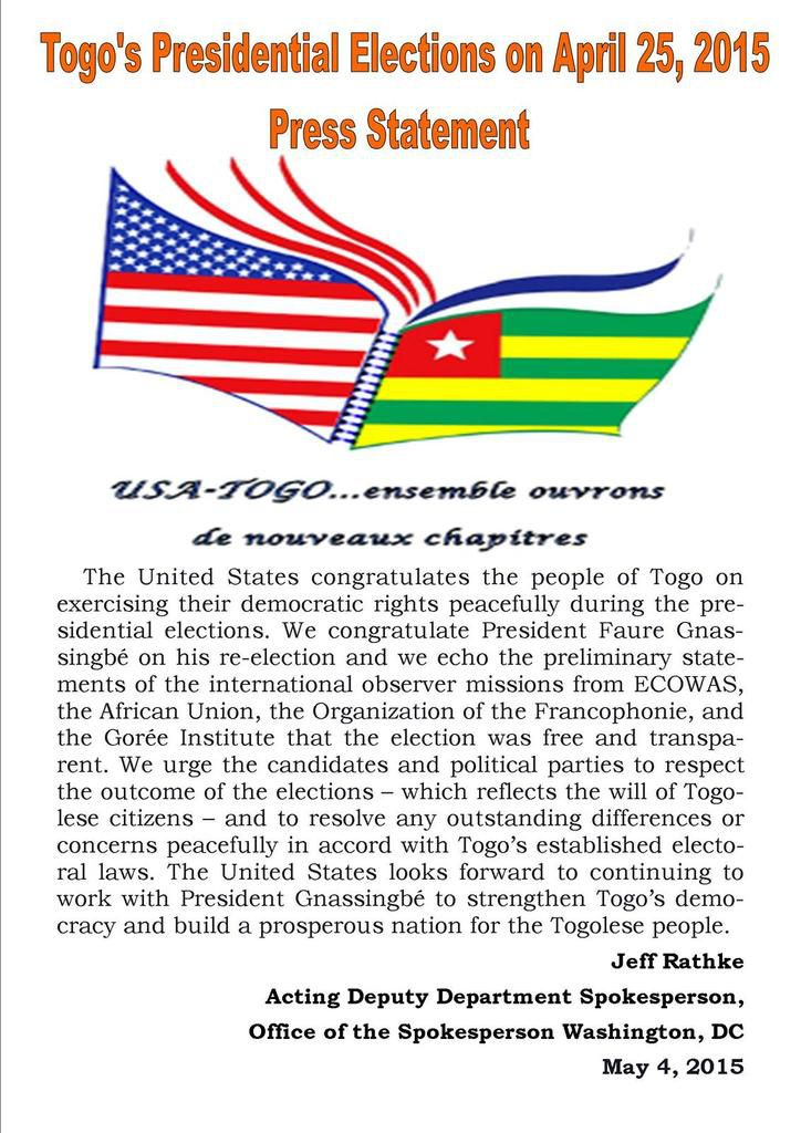 Togo's Presidential Elections on April 25, 2015 Press Statement