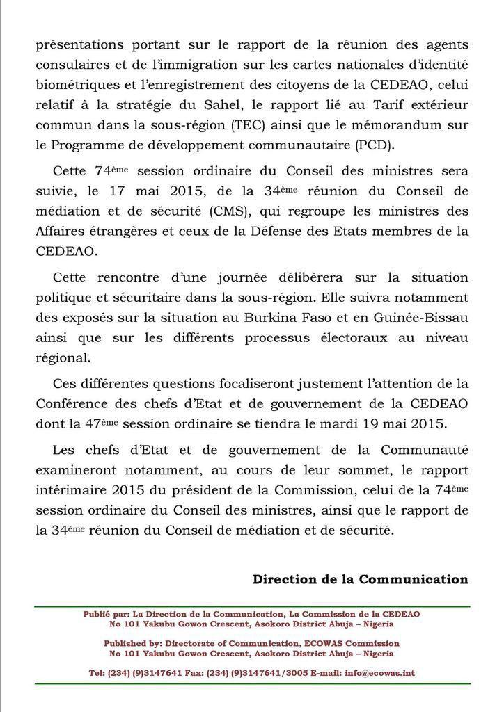 LA  SECURITE ET LE DEVELOPPEMENT ECONOMIQUE AU CENTRE   DE TROIS REUNIONS STATUTAIRES DE LA  CEDEAO A ACCRA
