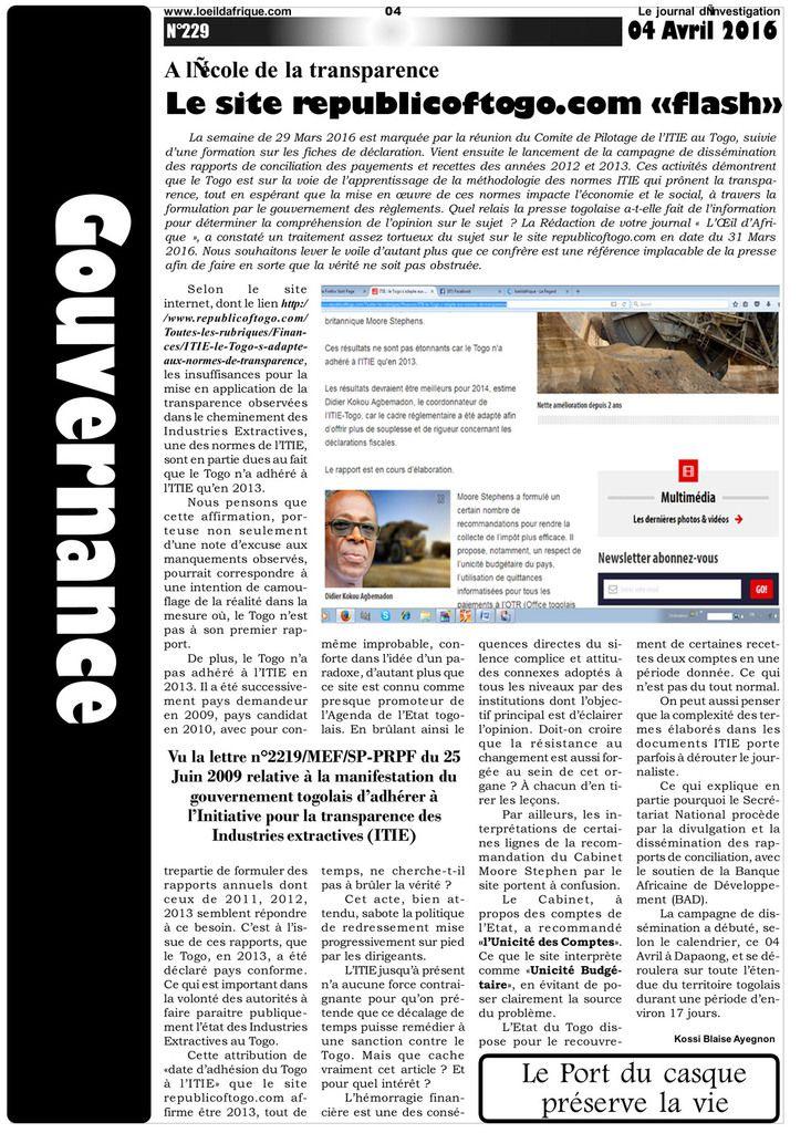 A l'école de la transparence  Le site republicoftogo.com «flash»