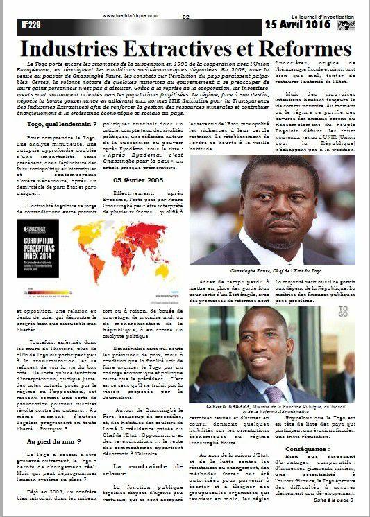 Voici le n°229 du 25 Avril 2016, de votre journal L'OEIL D'AFRIQUE