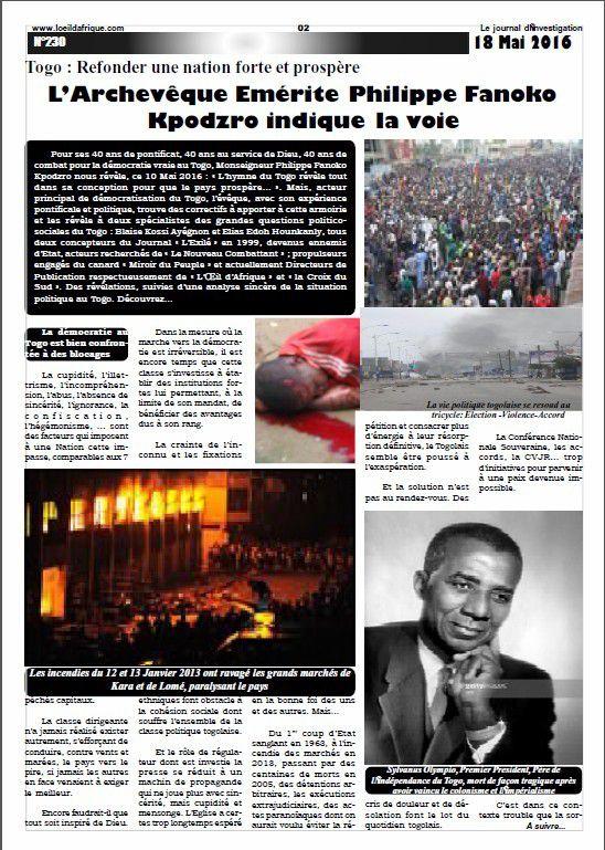 Refonder une nation forte et prospère  L'Archevêque Emérite Philippe Fanoko Kpodzro indique la voie   Acte 1
