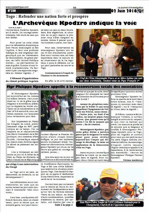 La nouvelle parution de votre Journal L'Oeil d'Afrique