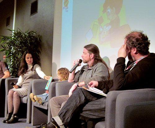 """Florence Drenou, l'auteur de """"Skol Kael"""", son petit Judikael, moi et l'éditeur Jean-Marie Goater."""