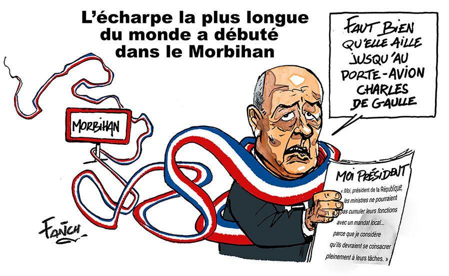 La plus grande écharpe du monde débute en Morbihan... elle est tricotée pour Le Drian ?