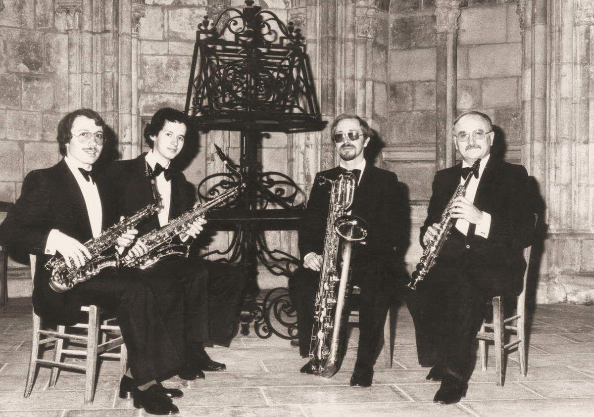 Quatuor de Saxophones de Nevers avec, à droite, Jean Callendret