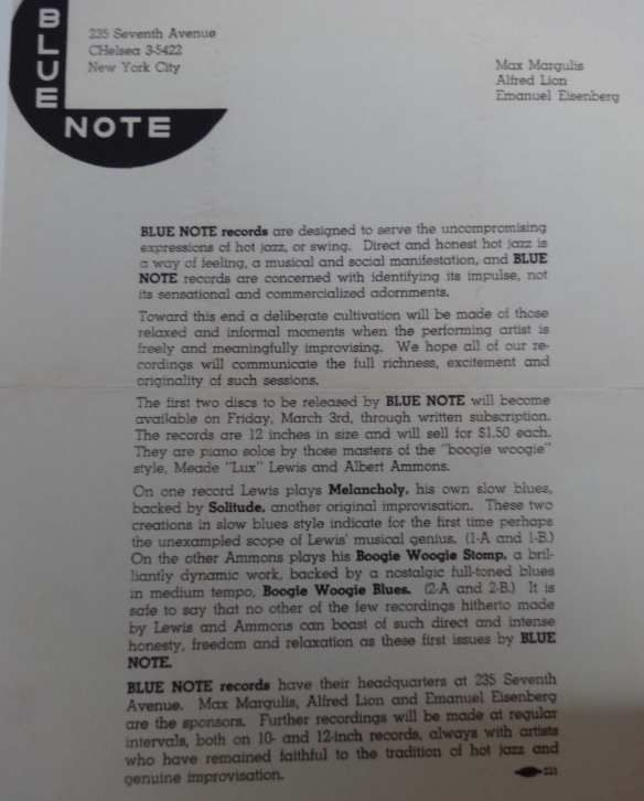 Blue Note's first press release (1939)