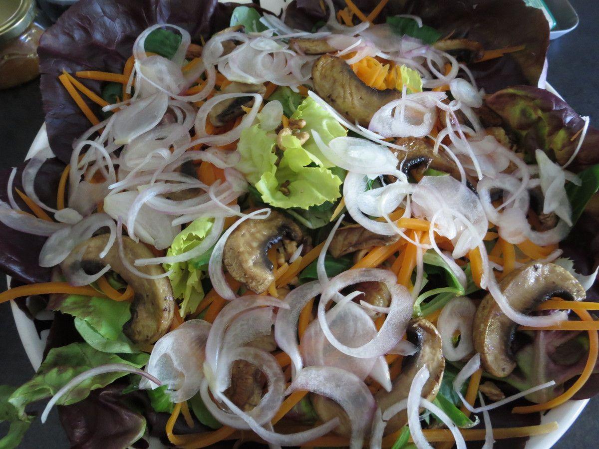 Pâté en croûte (lapin/veau/lard fumé/ noisettes et pruneaux)et salade automnale( scarole, laitue rouge, mâche, oignon Roscoff, carotte, champignons, noix, châtaignes grillées)
