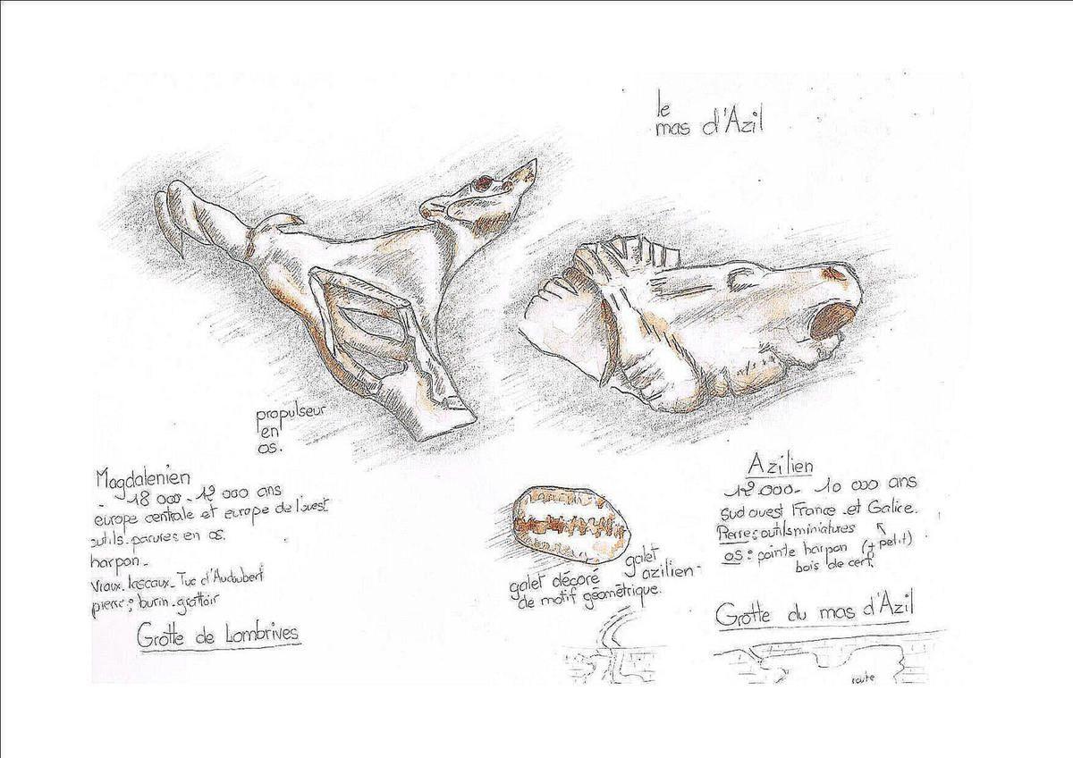 propulseur en os et sculptures magdaléniennes et galet peint azilien.