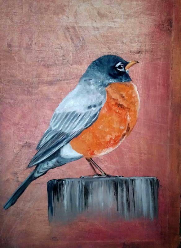 Kleiner Vogel beim Sonnenaufgang - Ölgemälde auf Leinwand, 40x60 cm (mit kurzer Malanleitung) - Teil 2