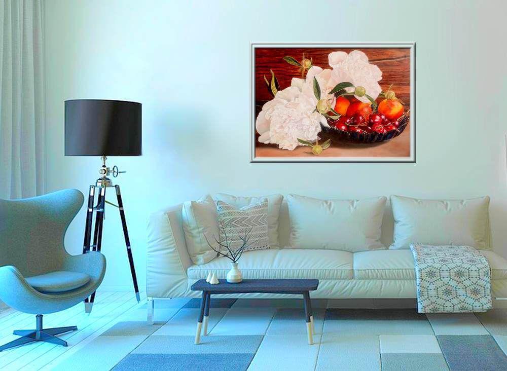 Ölgemälde - Stillleben mit Pfingstrosen und Obst, Step by Step - 25, das fertige Gemälde