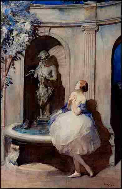 Danseuse près de la fontaine
