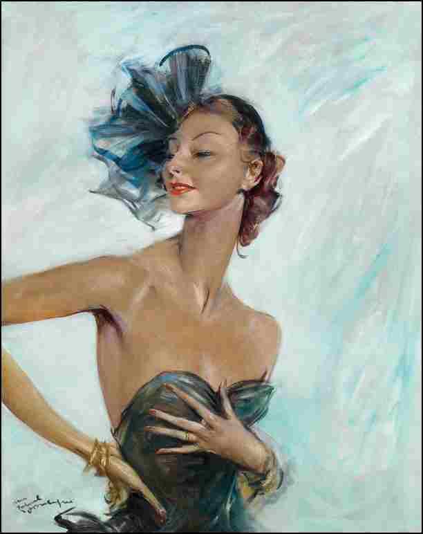 Portrait d'une élégante au bibi noir