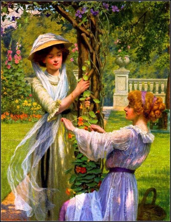 Jeunes femmes dans un jardin de fleurs