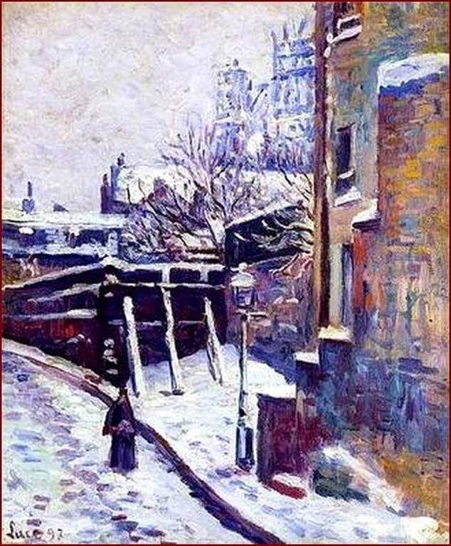 neige recouvrant la rue à Montmartre