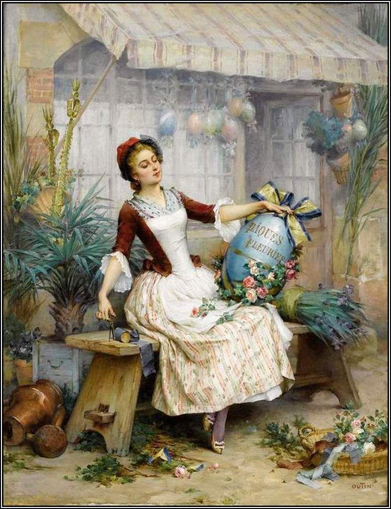 Pierre Outin (1840 - 1899) -  les oeufs de Pâques