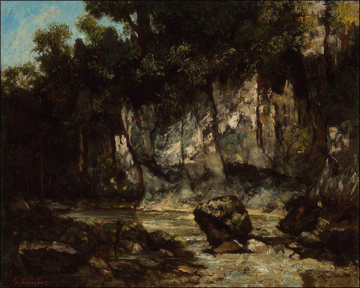Gustave Courbet (1819-1877) Paysage comtois - rocher