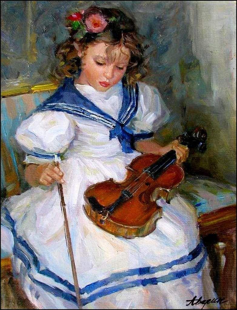 La musique en peinture - Alexander Averin (1952) - petite violoniste