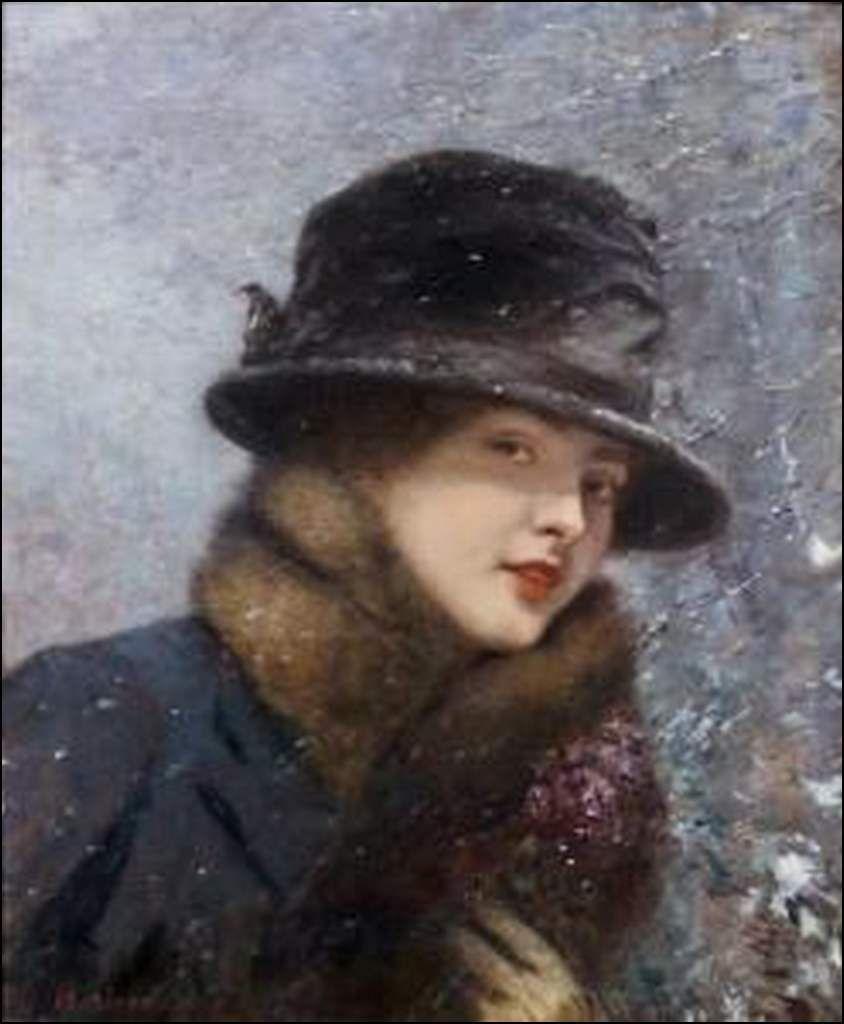 Jeune femme au bouquet de violettes sous la neige (colette Gervex)