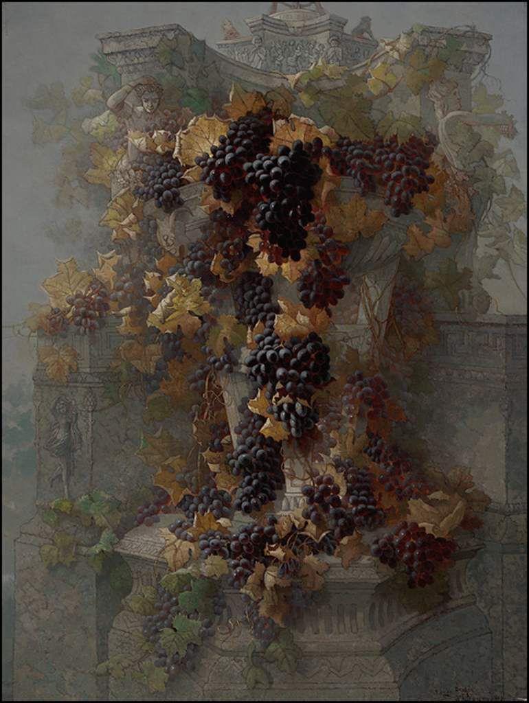 Raisins - vignes - vendanges en peinture - Edwin Deakin (1838-1923)