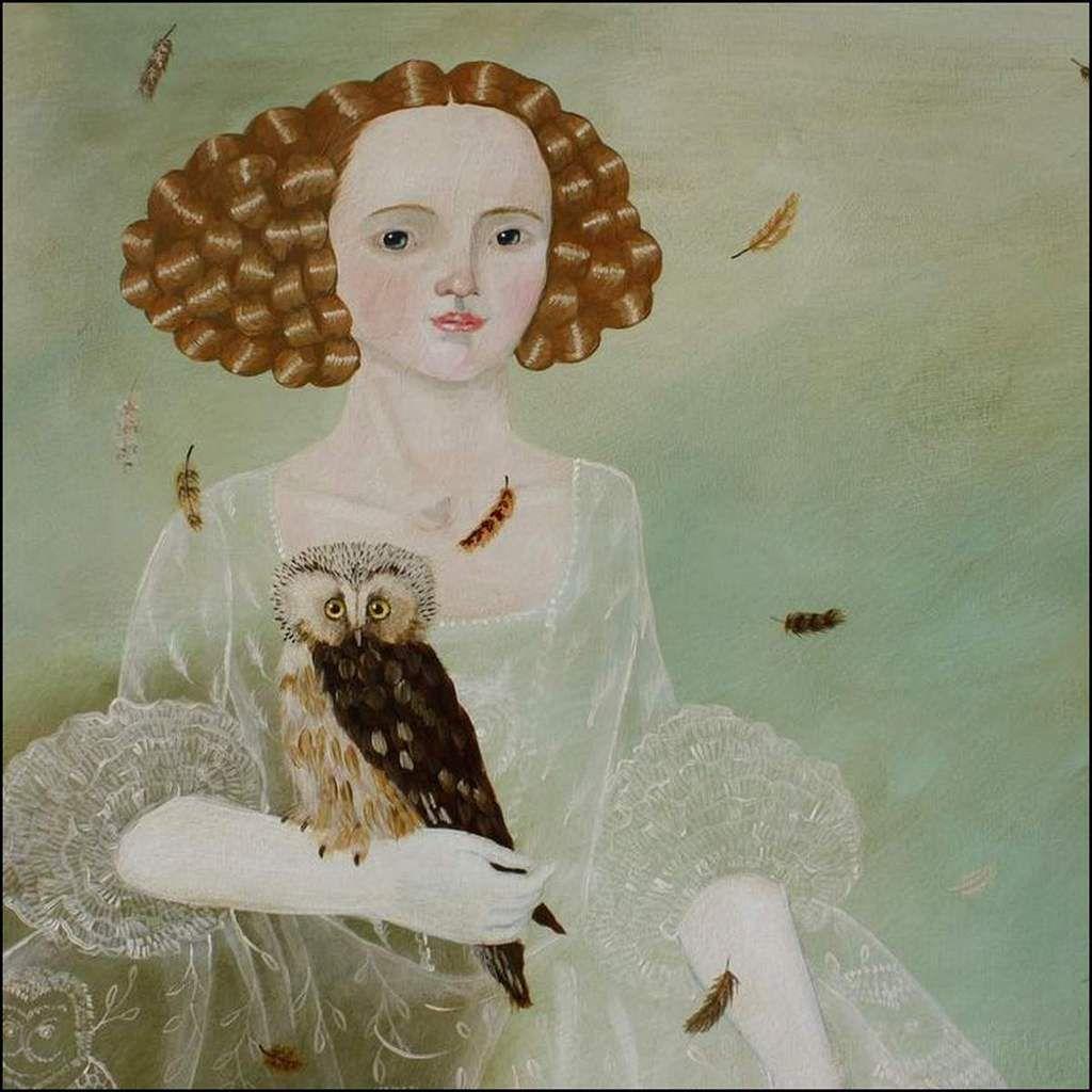 Femme et oiseau en peinture - Anne Siems (1965)
