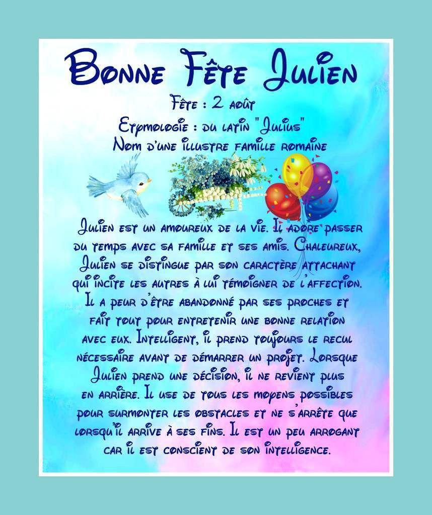 Carte Bonne Fete Julien.Carte Bonne Fete Julien 2 Aout Balades Comtoises