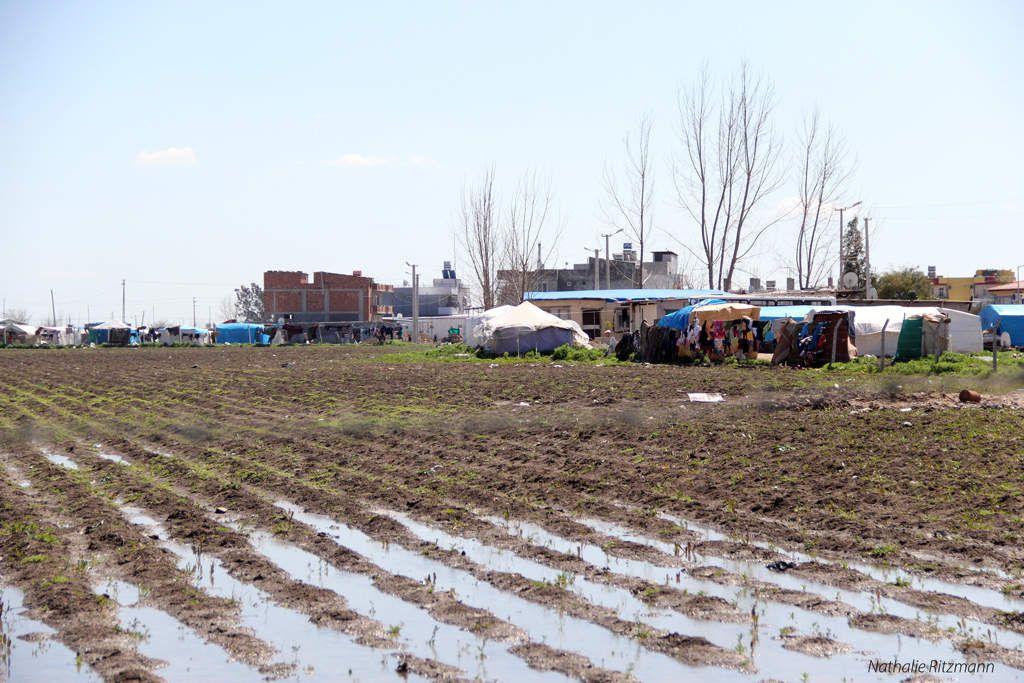 Champ gorgé d'eau dans le camp non-gouvernemental de réfugiés syriens à Adana