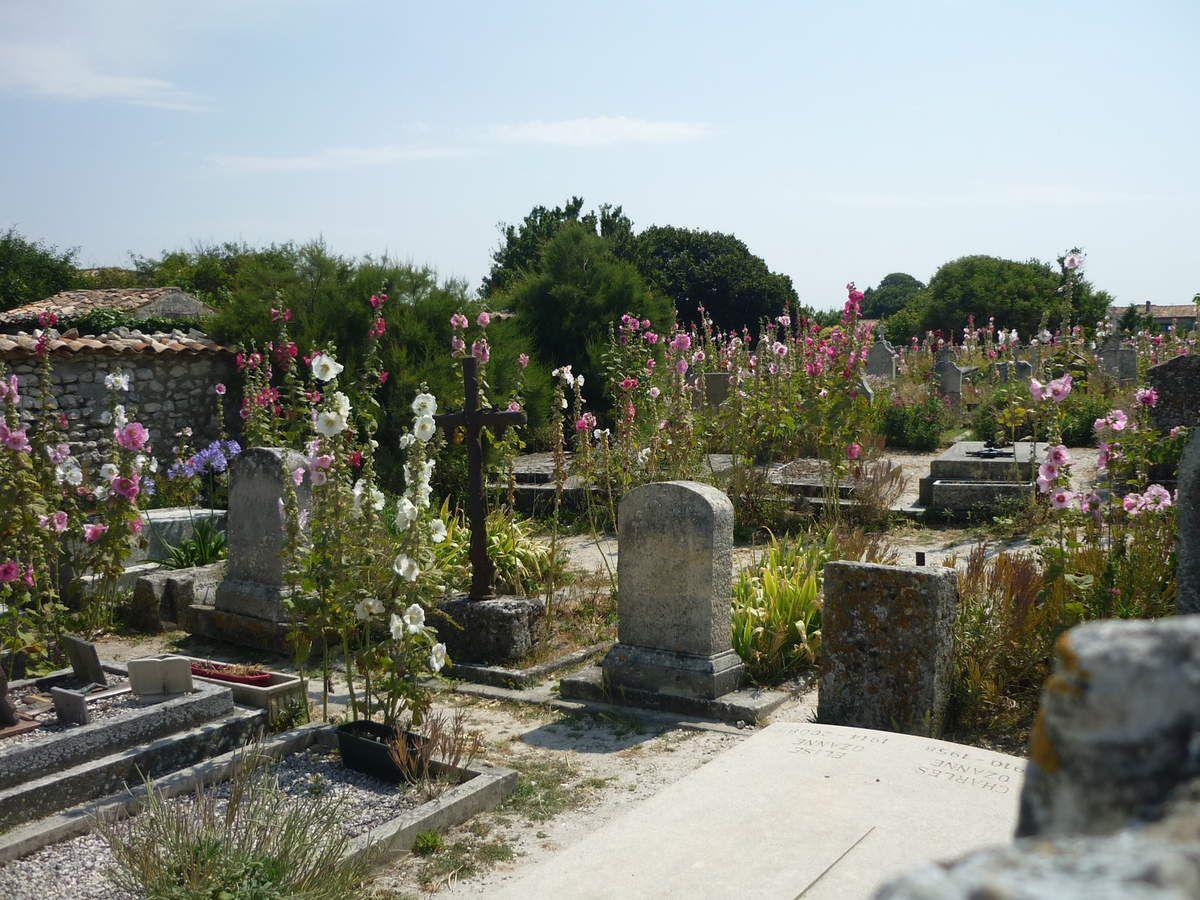 J'ai ressenti une émotion particulière dans ce cimetière ou les tombes sont vraiment au milieu des roses trémières.