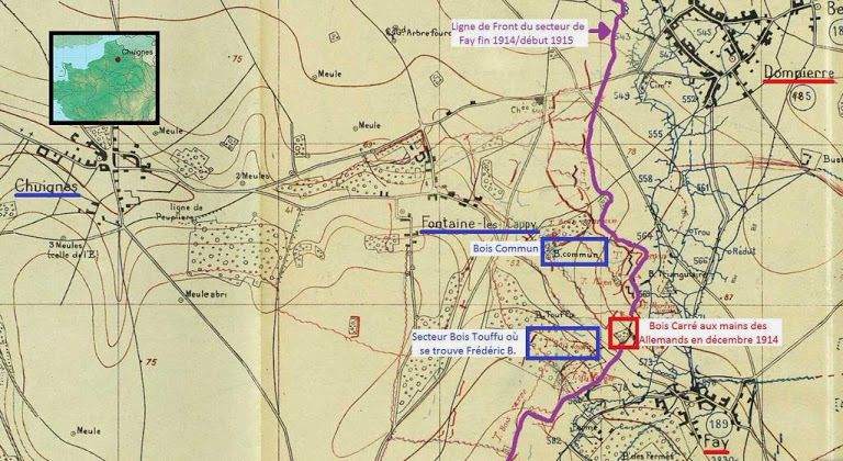 Carte du secteur du Régiment de Frédéric B. fin 1914 / début 1915 (source : JMO du 123e R.I territorial, page 22)
