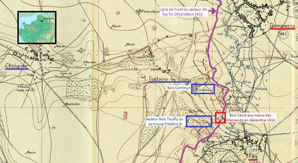 Carte du secteur où se trouve Frédéric B.