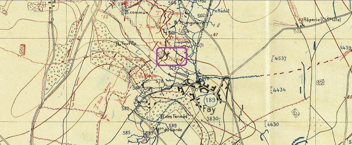 Localisation du secteur Filippi sur une carte d'Etat-major publiée dans le JMO du 99ème RI en 1915