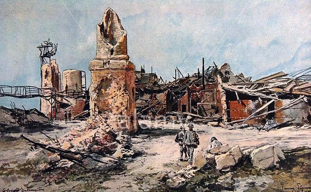 Aquarelle du Moulin de Fargny réalisée en 1915