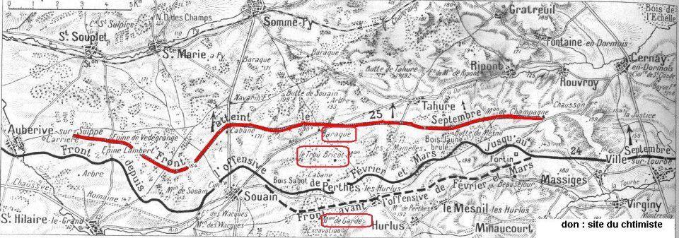 Localisation du Trou Bricot (la ligne rouge figure le front à la fin de la Bataille de Champagne, et la ligne noire, le front avant cette offensive de septembre 1915)