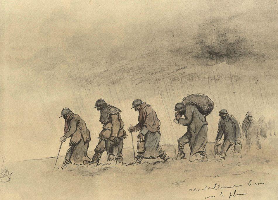 Ravitaillement un soir sous la pluie Dessin de Sem - Quelques dessins de guerre, 1915-1916 (http://www.dessins1418.fr/)