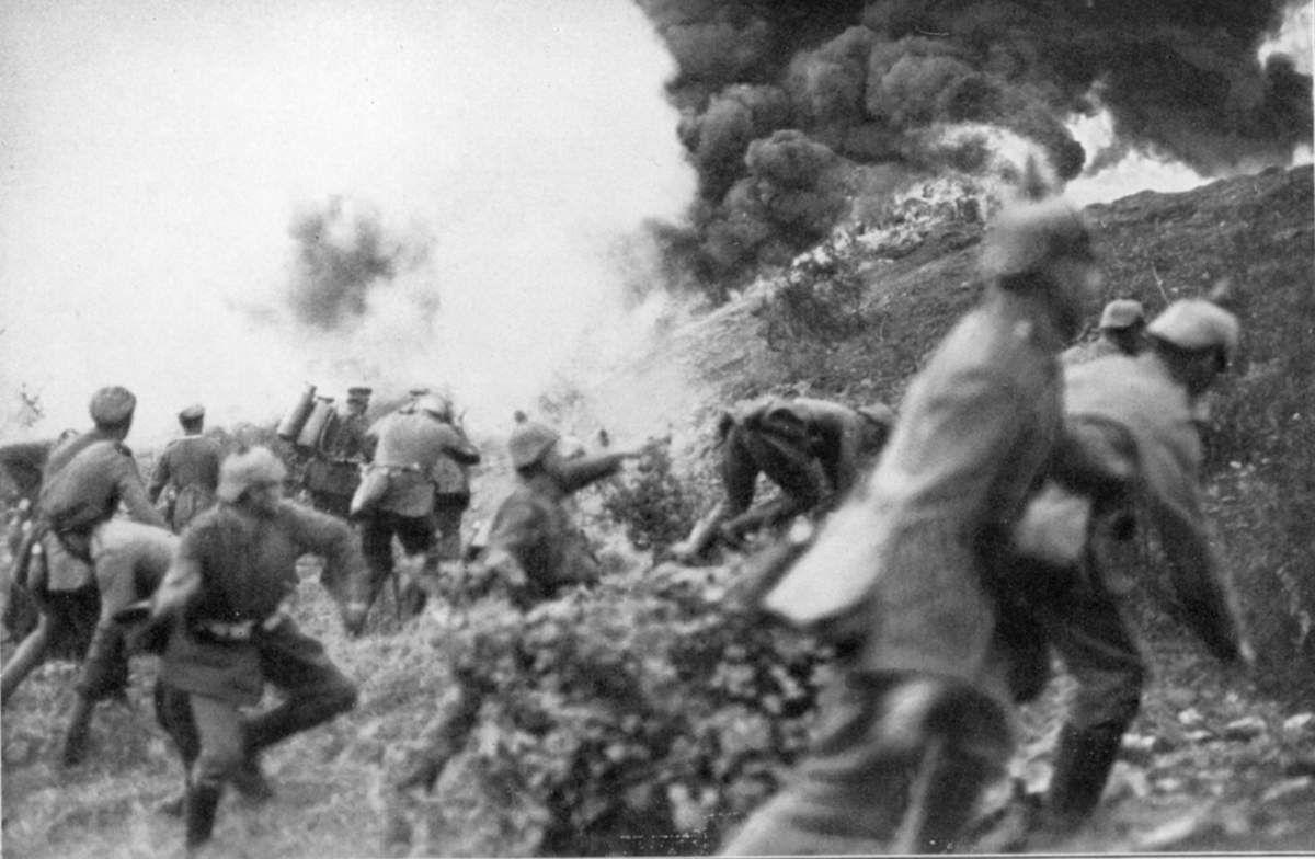 Infanterie allemande sur le sommet du Mort Homme à Verdun (1916)