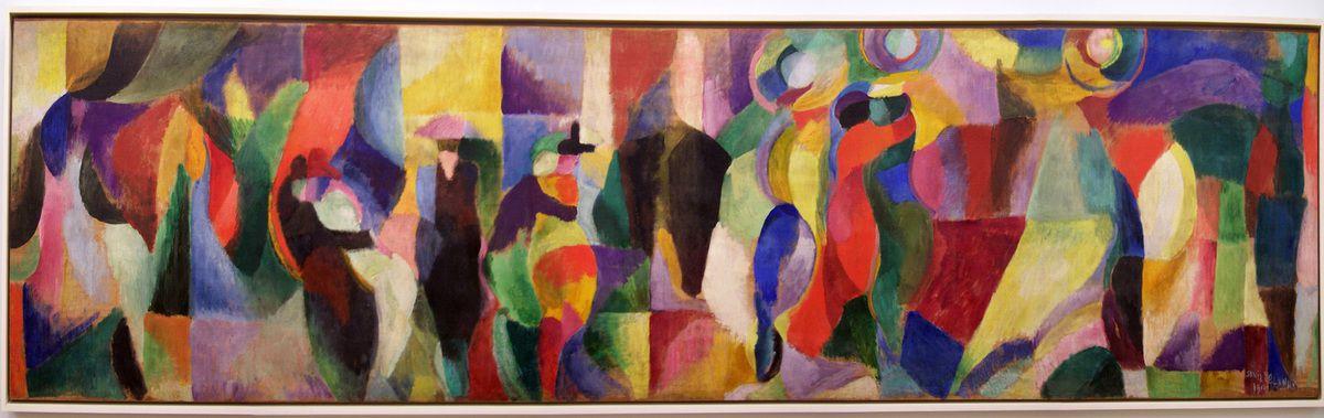 1913 - Le Bal Bullier - huile sur toile 97x390cm - Le tango est à la mode et le jeudi le couple va danser au bal Bullier, près de Port Royal
